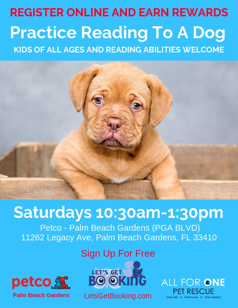 Read to  a Dog at Petco in Palm Beach Gardens