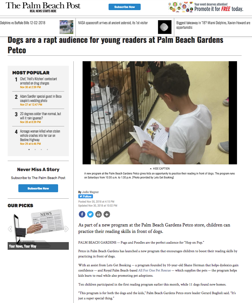 The Palm Beach Post Reading To Dogs